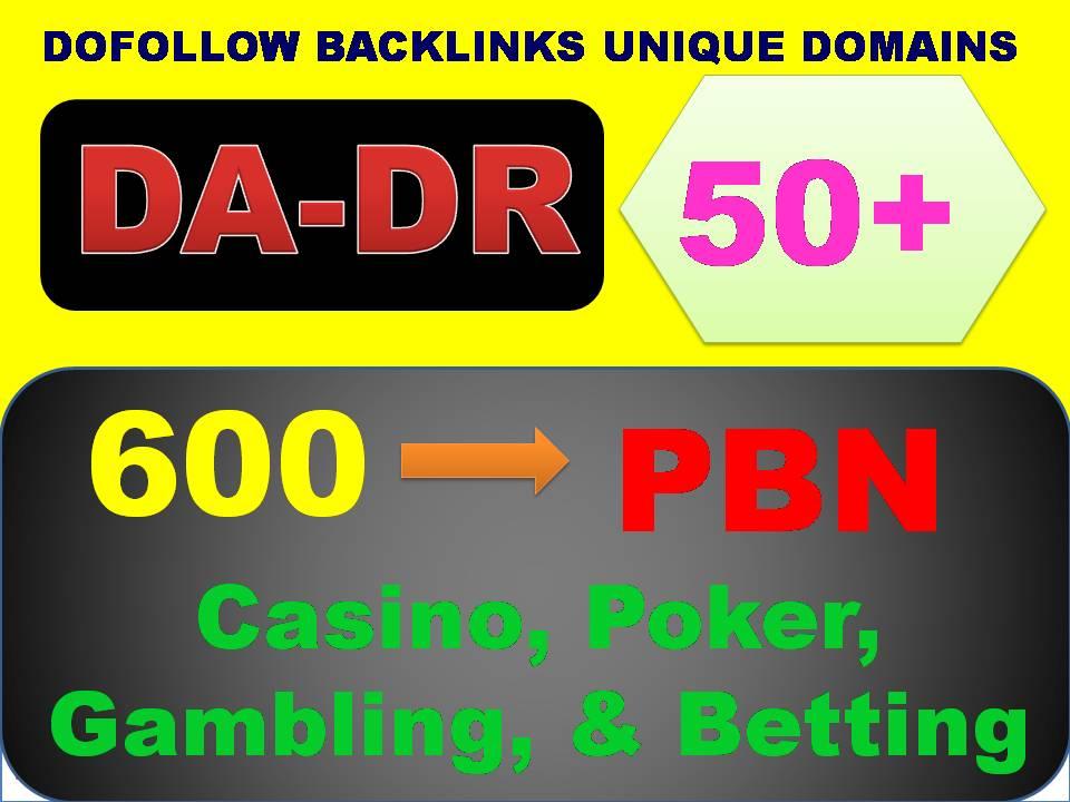 I Will Create 600 PBN DA & DR 50+ Homepage DoFollow Links for Casino,  Poker,  Gambling,  & Betting