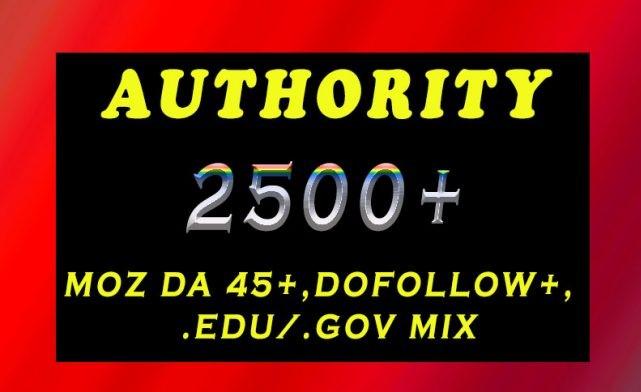 Get 2500+ DA 45+, dofollow,  EDU and GOV backlinks mix