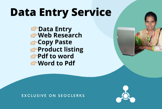 I will do data entry,  copy paste,  and web research services