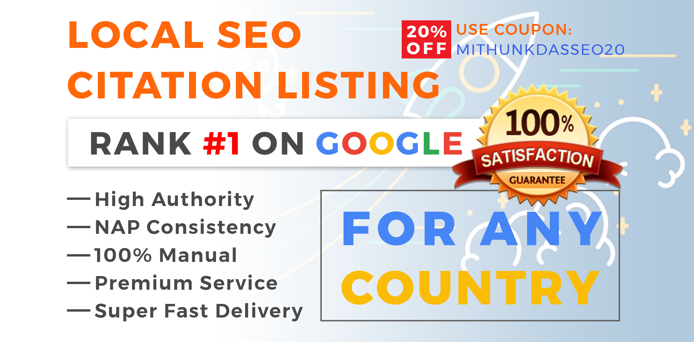 I will do 10 to 25 high authority local citation for your business with moz,  yext