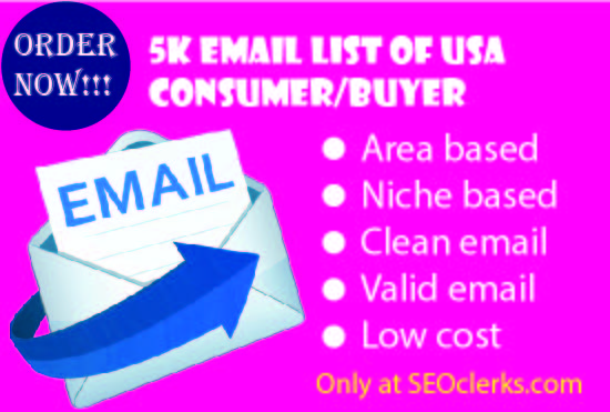 5K Email List Of USA Real Consumer/Buyer