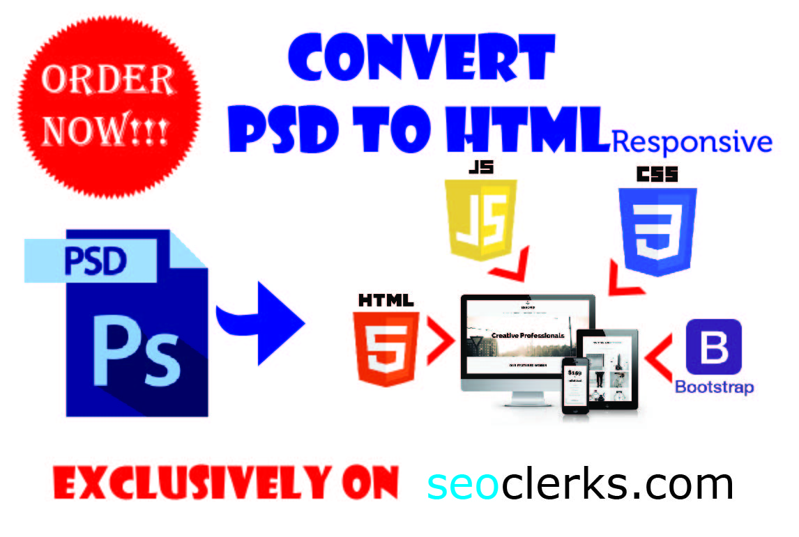 I Will Design PSD to HTML including CSS,  JS,  Bootstrap and Responsive at a very Low Cost
