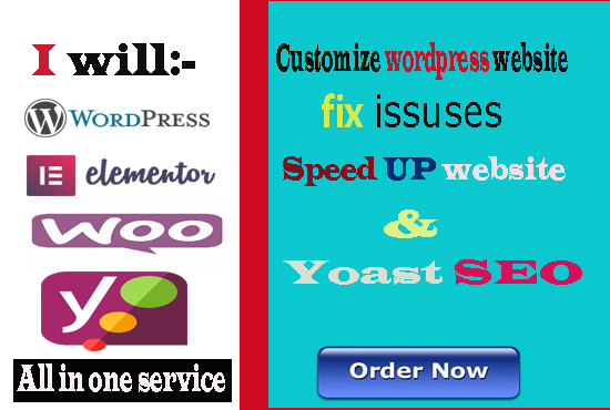 I will fix issuses wordpress customization and yoast seo