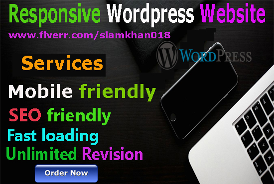 I will create responsive mobile and seo friendly wordpress website