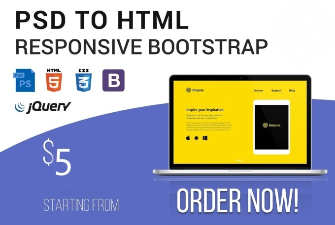 I will convert psd to html responsive bootstrap
