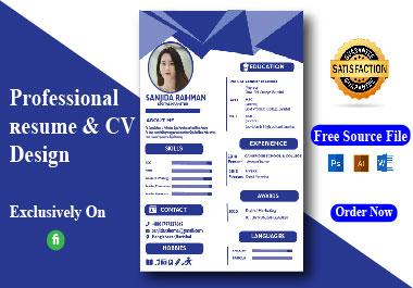 I Will Provide Resume/CV Writing Service Professionally