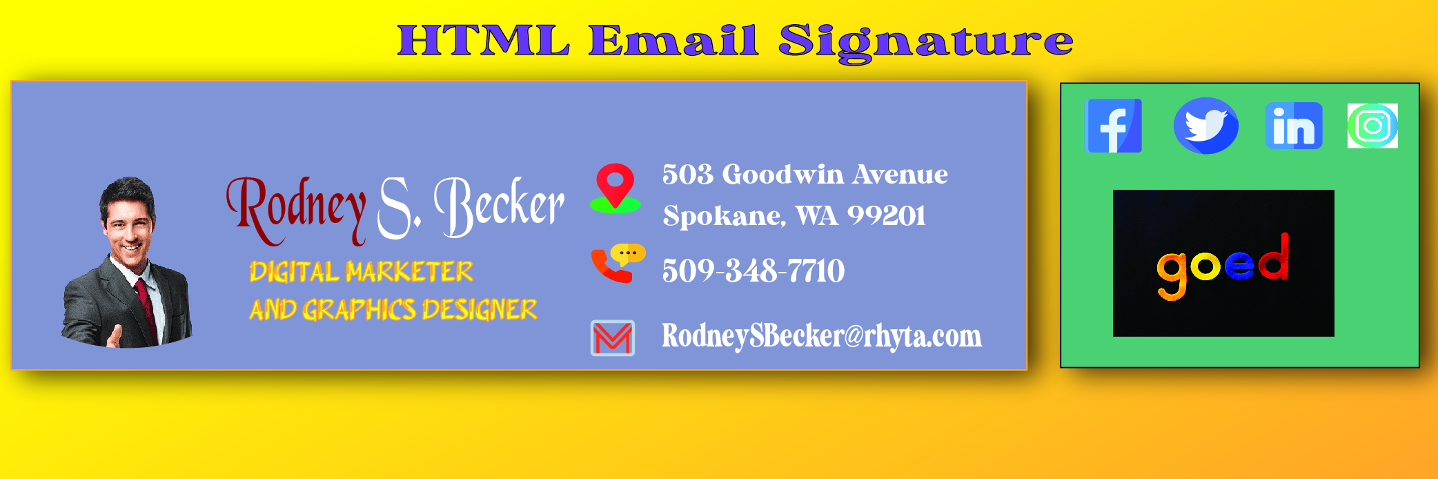 I Will Professionally produce HTML Email Signature