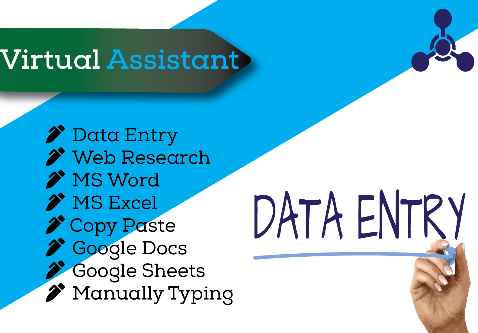 I will be your Virtual Assistant and do Data Entry,  Copy Paste and Typing work