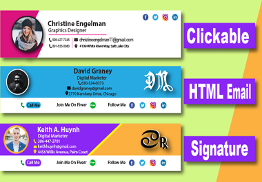 Create professional clickable HTML email signature