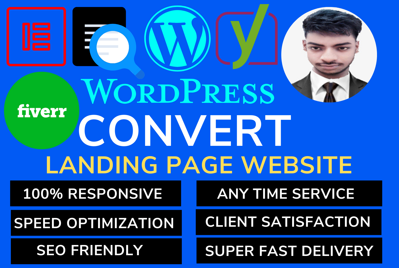 Build responsive landing page wordpress website