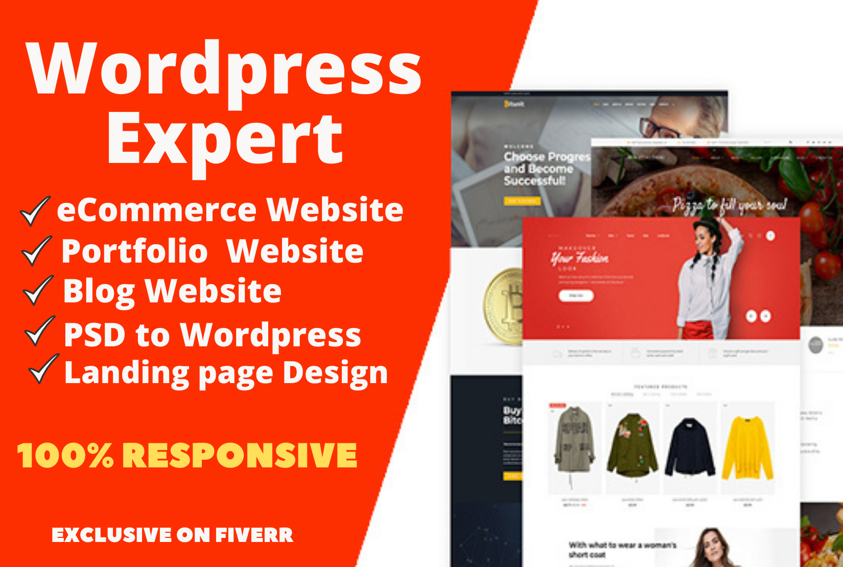 Create wordpress eCommerce,  portfolio,  blog or landing page website