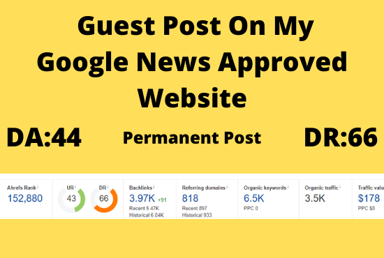 publish guest post on my da44 google news approved website