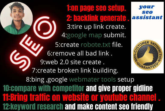 As a SEO assistant i will rank your website on google and generate organic traffic