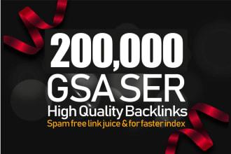 Best High GSA 200,000 SER Backlinks SEO