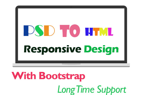 I will convert psd to html with bootstrap responsive design