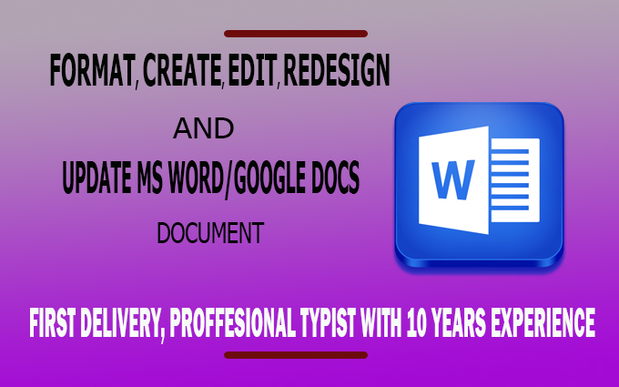 I will do any type of microsoft word documents