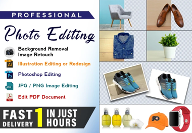 do image enhancement, Drop shadow, photo editing and background removal super fast