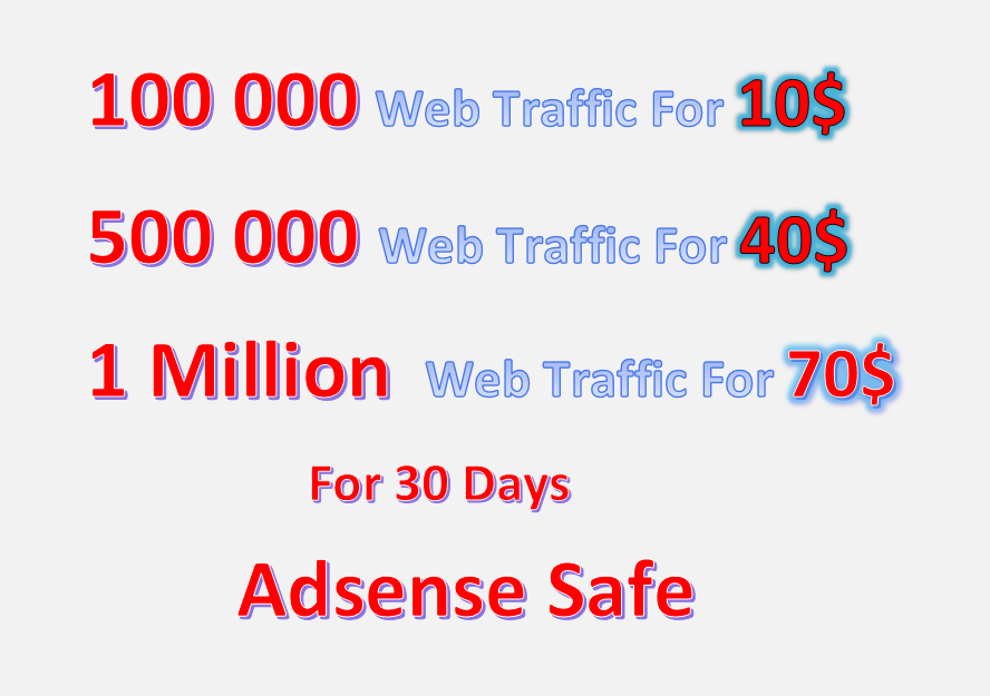 1 Million Web Traffic to Your Website Adsense Safe