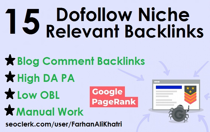 I will SEO service 15 niche relevant blog comments dofollow backlinks