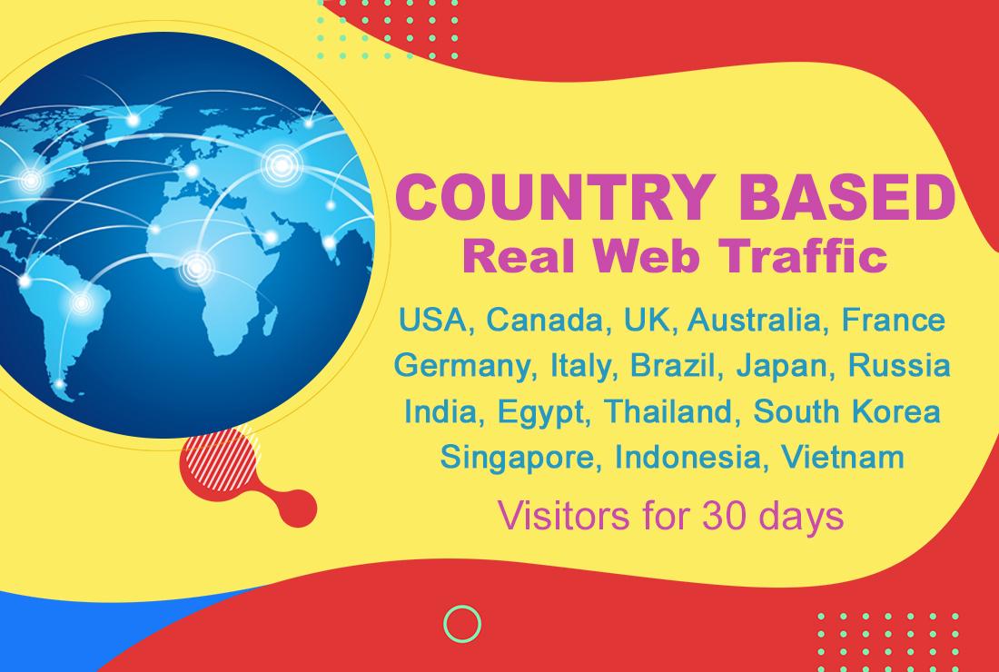 Country based real web traffic,  USA,  Canada,  UK