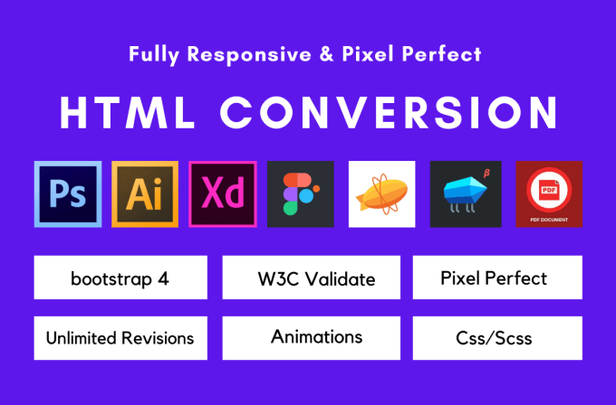 I will convert psd to html,  xd to html,  sketch to html responsive in bootstrap