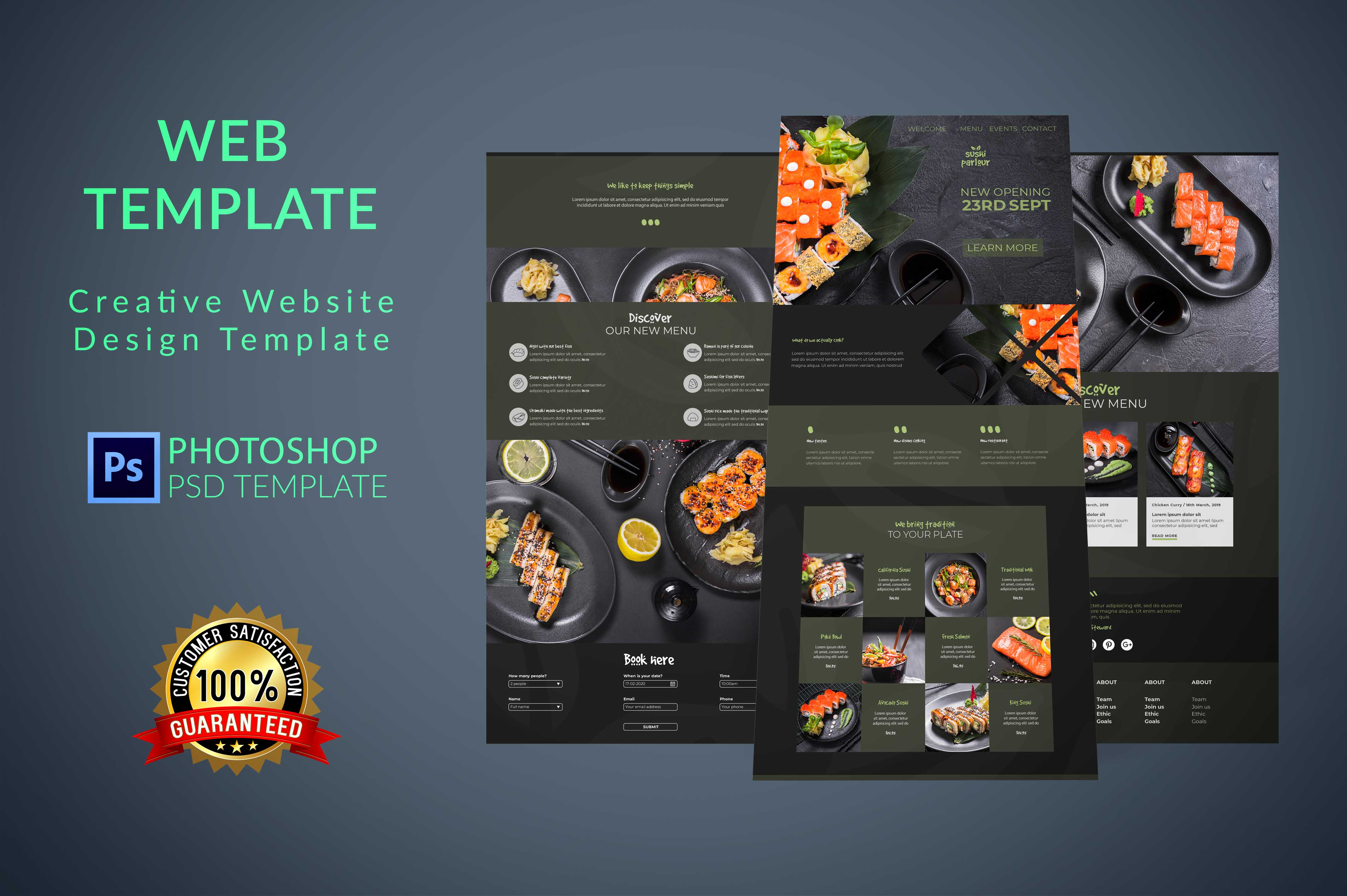I will design photoshop web template,  PSD website and website UI