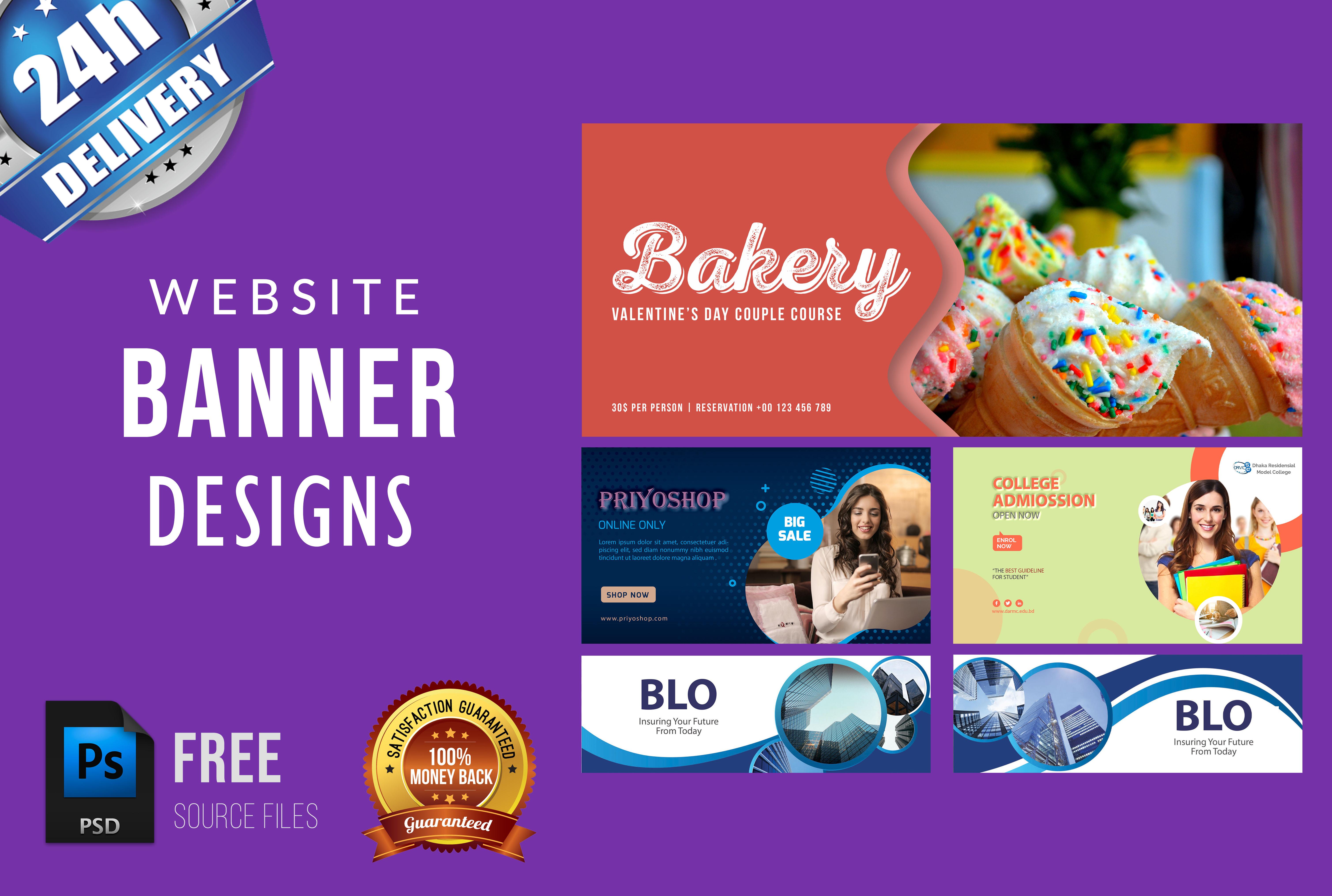 I will design website banner ads,  banner design, product ad, slider
