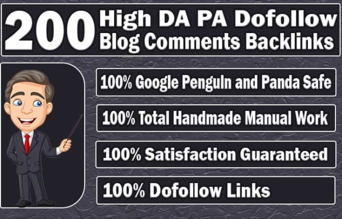 do 200 unique domain dofollow blog comment with high dapa