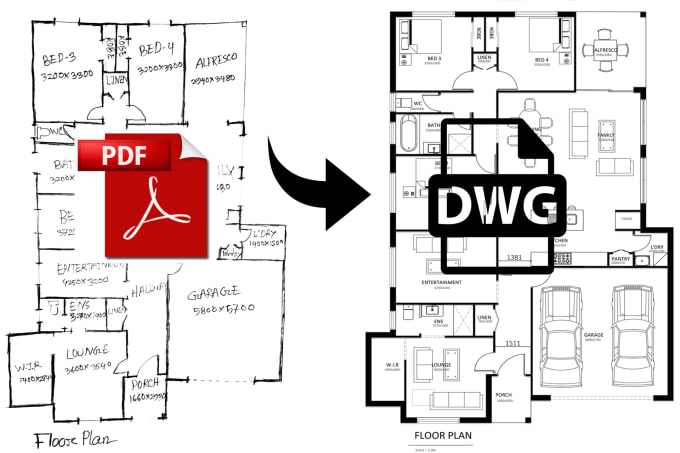 I will redraw floor plans from pdf sketch to autocad