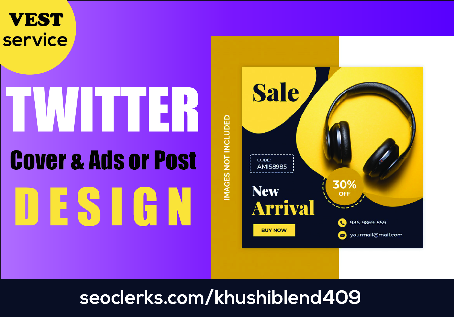 I will design Awesome 5 Post and google ad, cover image for Twitter