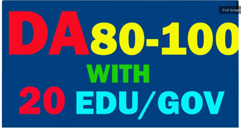 Create 117 Backlinks Da 80 To 100,  90 links,  With 25 Edu-Gov. average DA 40-100 20 links