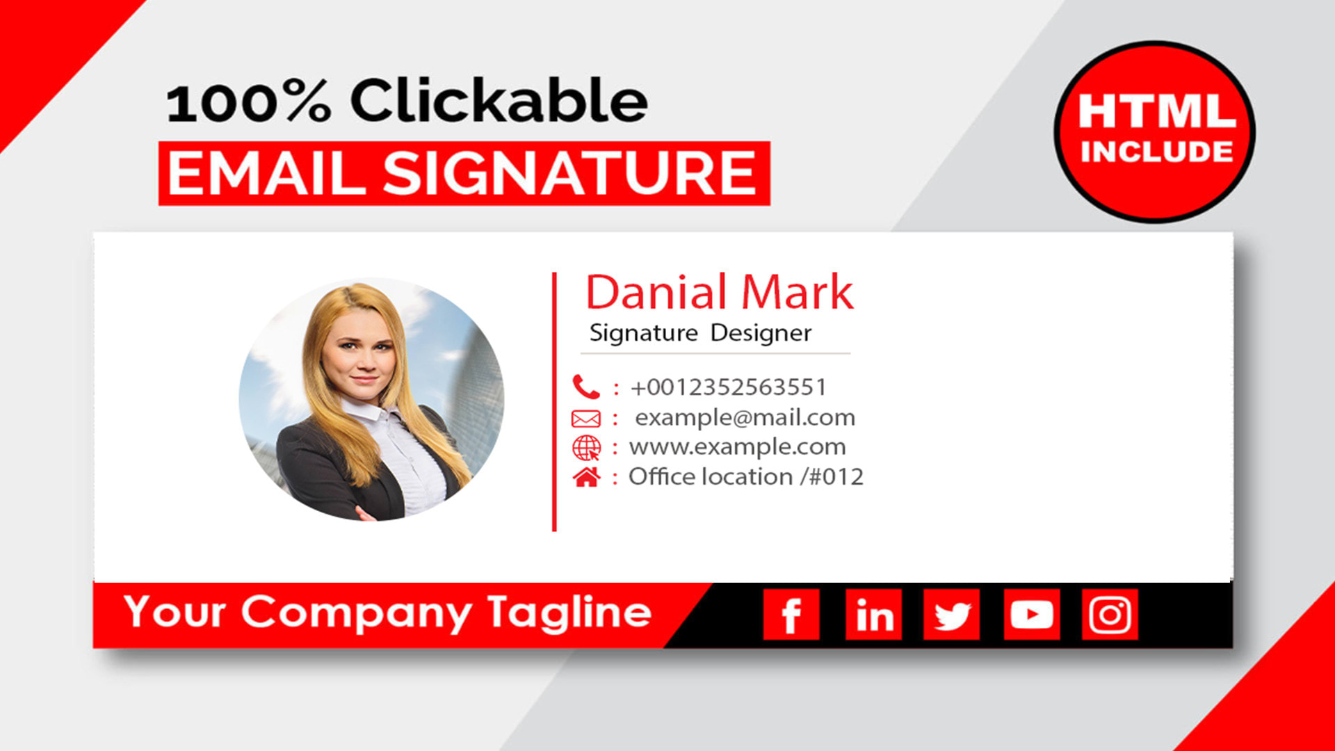 I will design a clickable HTML email signature for $1