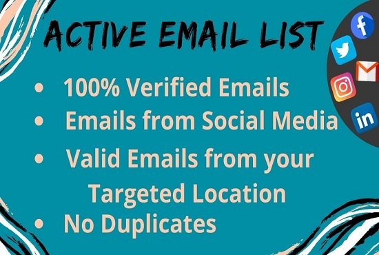 I Will Provide 100 Valid Email Address List