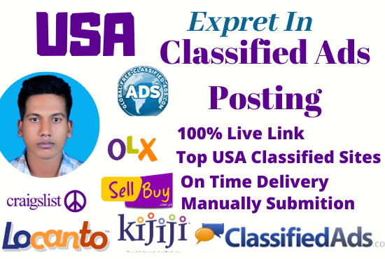 I will do 50 classified ads posting top site in USA