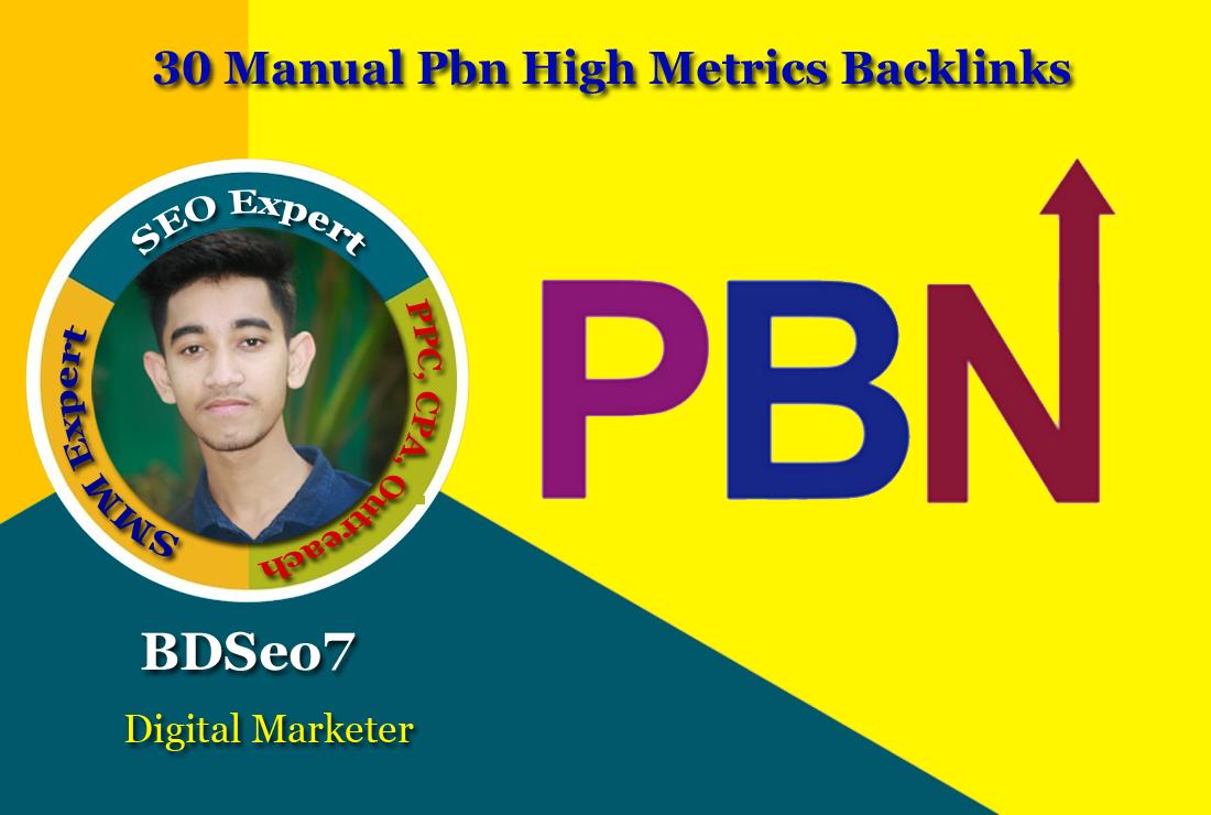 30 Manual PBN High Metrics Backlinks
