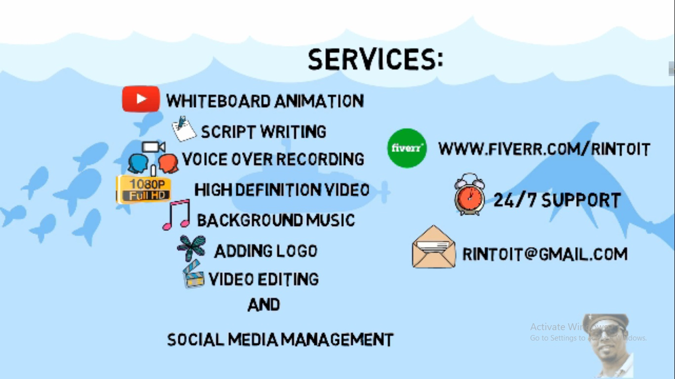 I will create complete whiteboard animation video or video editing