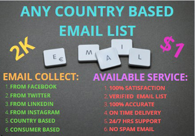 Any Country based 2k new consumer Email list will sell for your business purpose