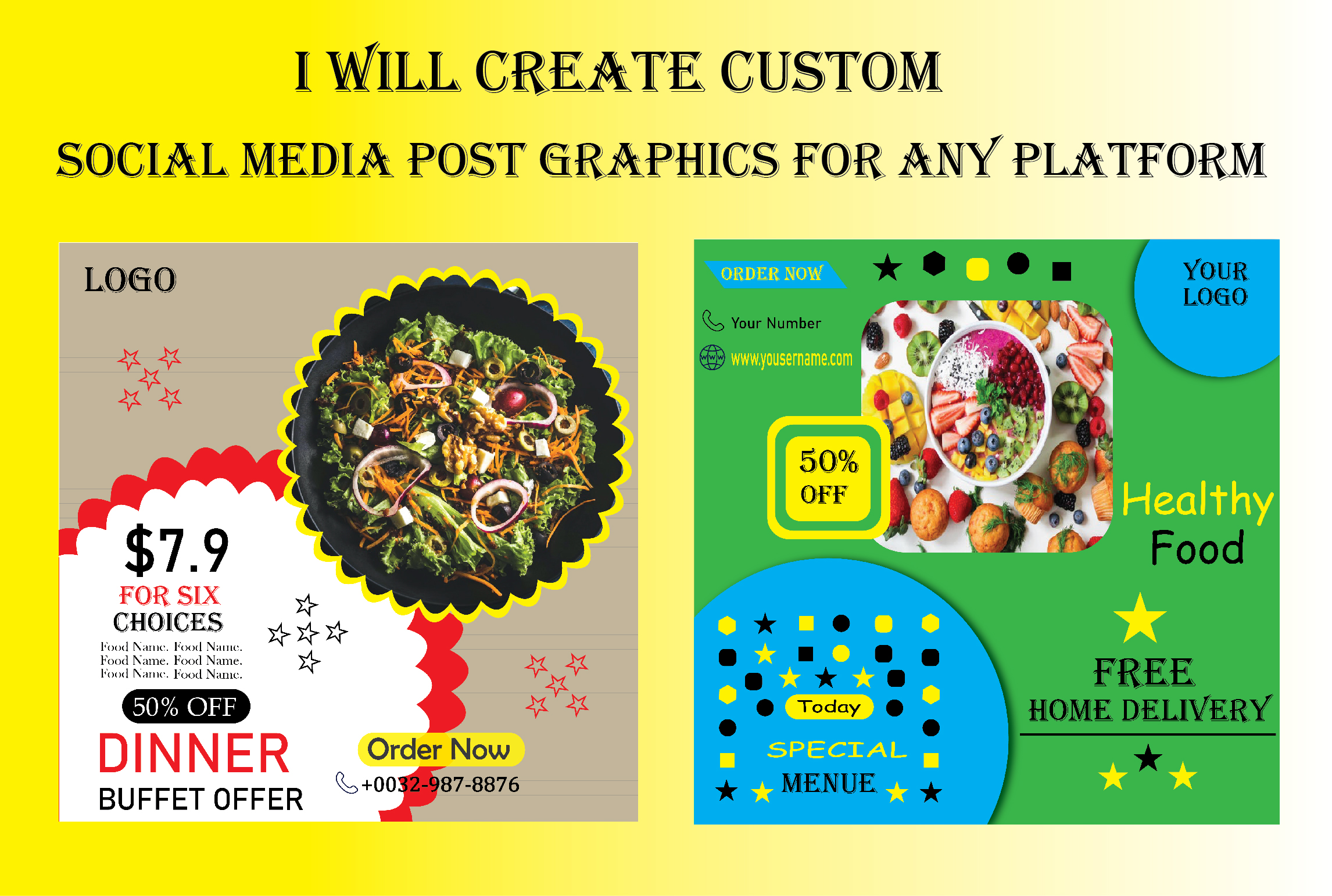 I will create custom social media post graphics for any platform