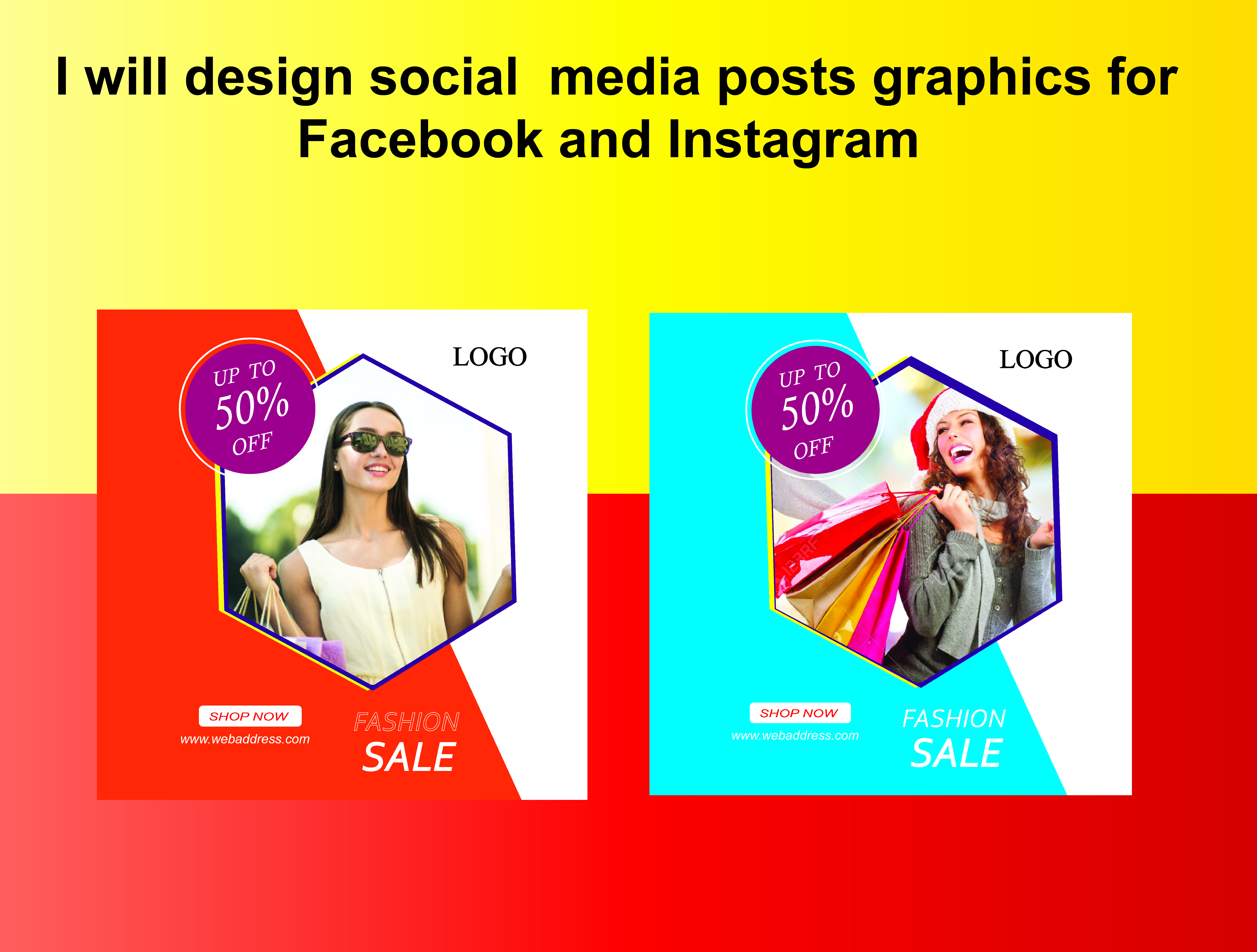 I will design social media posts graphics for Facebook and Instagram