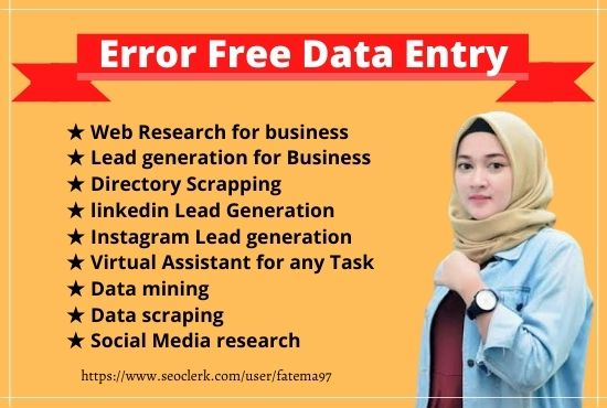 I will do 15 b2b lead generation,  excel data entry,  copy pest and typing data entry task