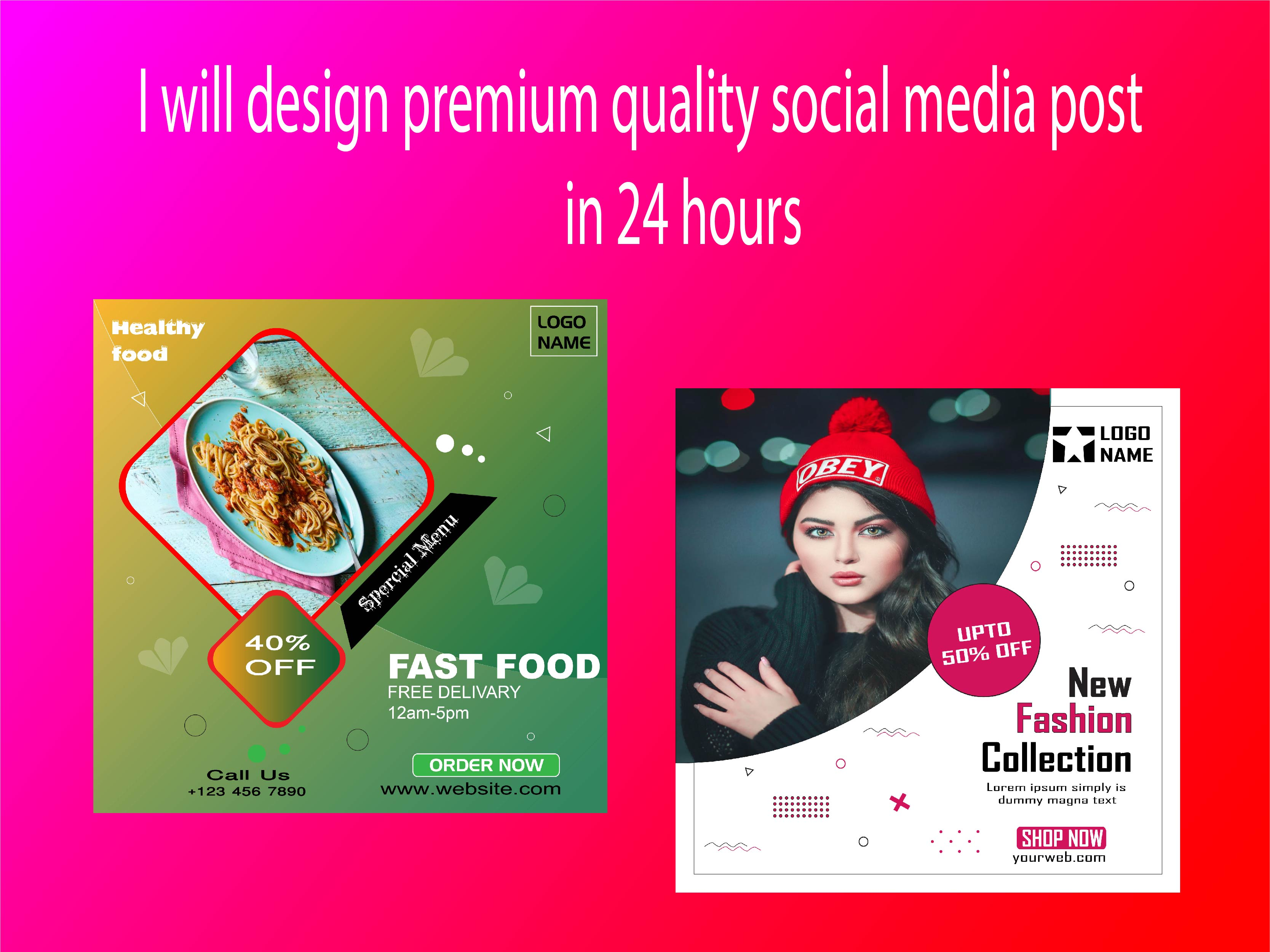 I will design premium quality social media post in 24 hours