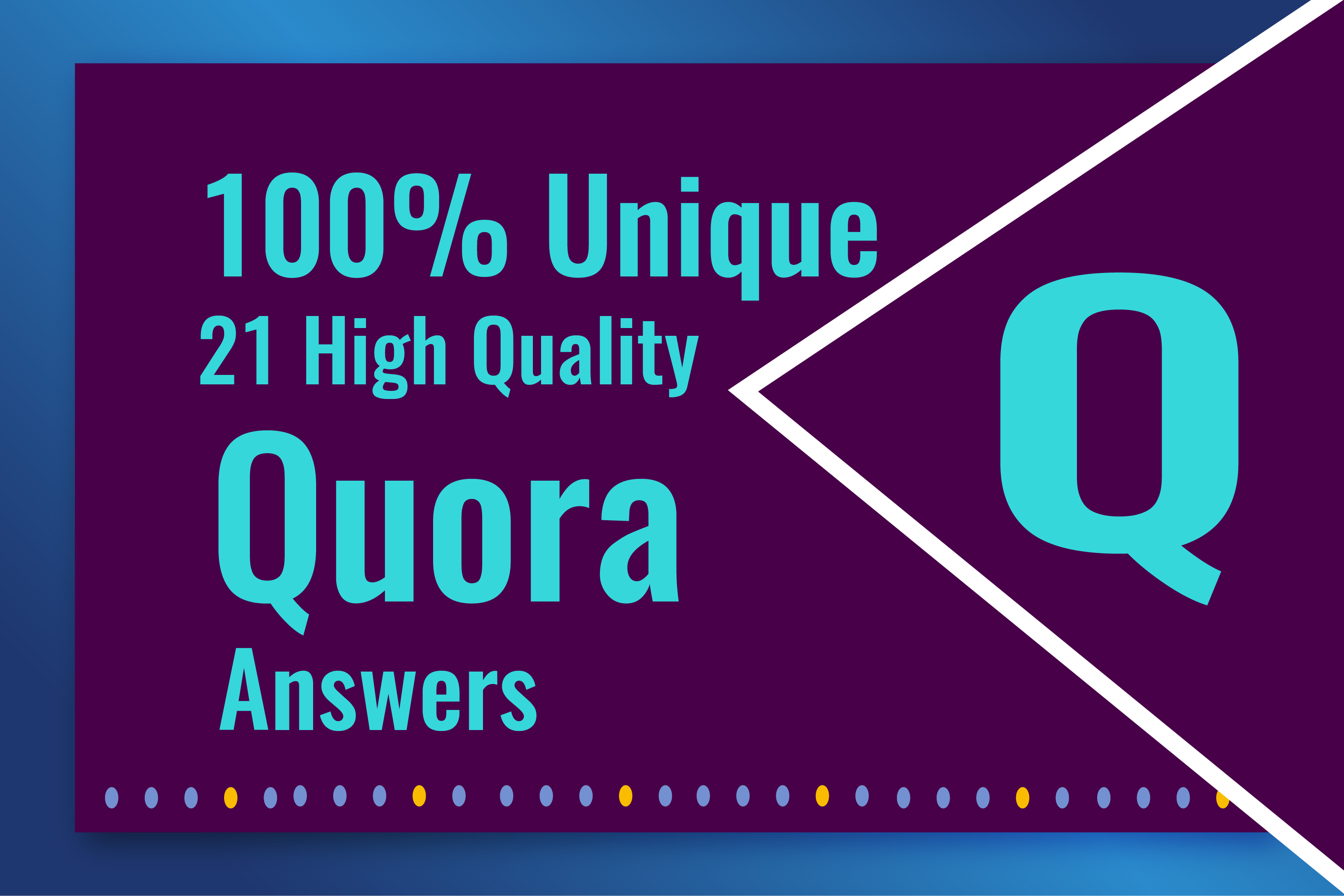 I will Promote Your website 21 High Quality Quora Answers With Your Keyword & URL