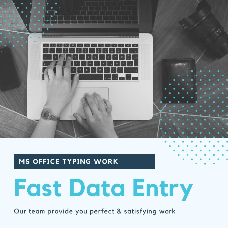 I will do fast data entry typing work ms office copy paste data entry pdf to word web research data