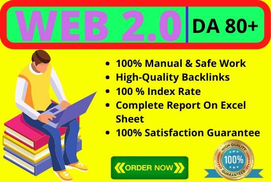Build Manually 10 High Authority Web 2.0 Backlinks,  Off Page SEO,  Link Building,  DA 80+