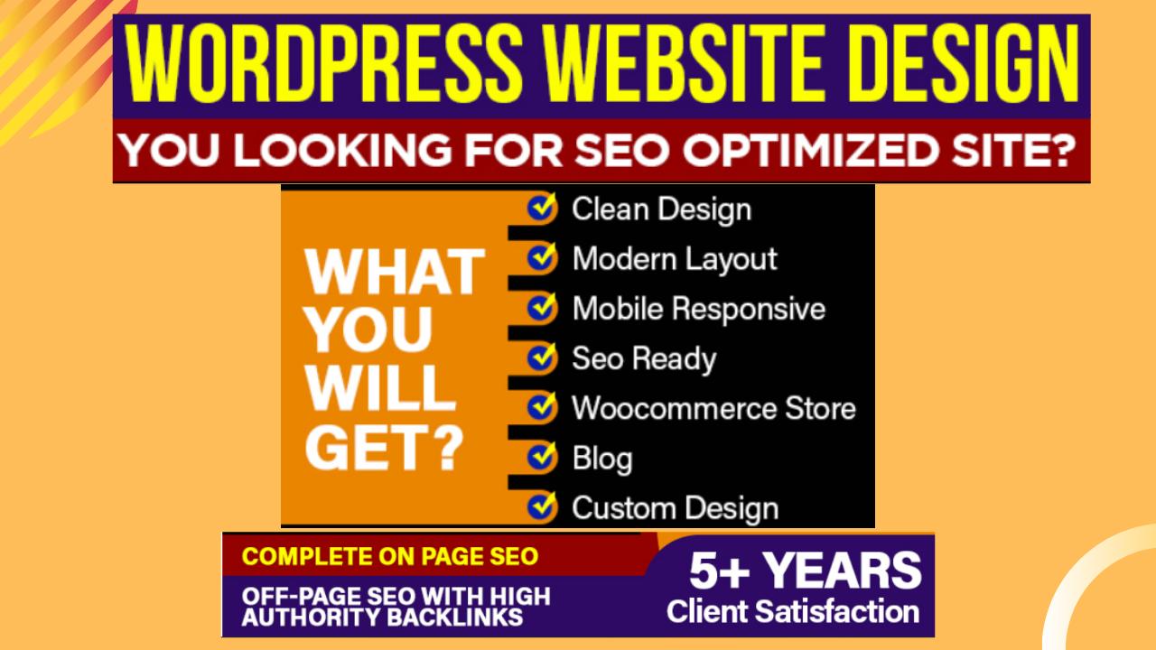 I will create WordPress website design or blog with SEO optimization