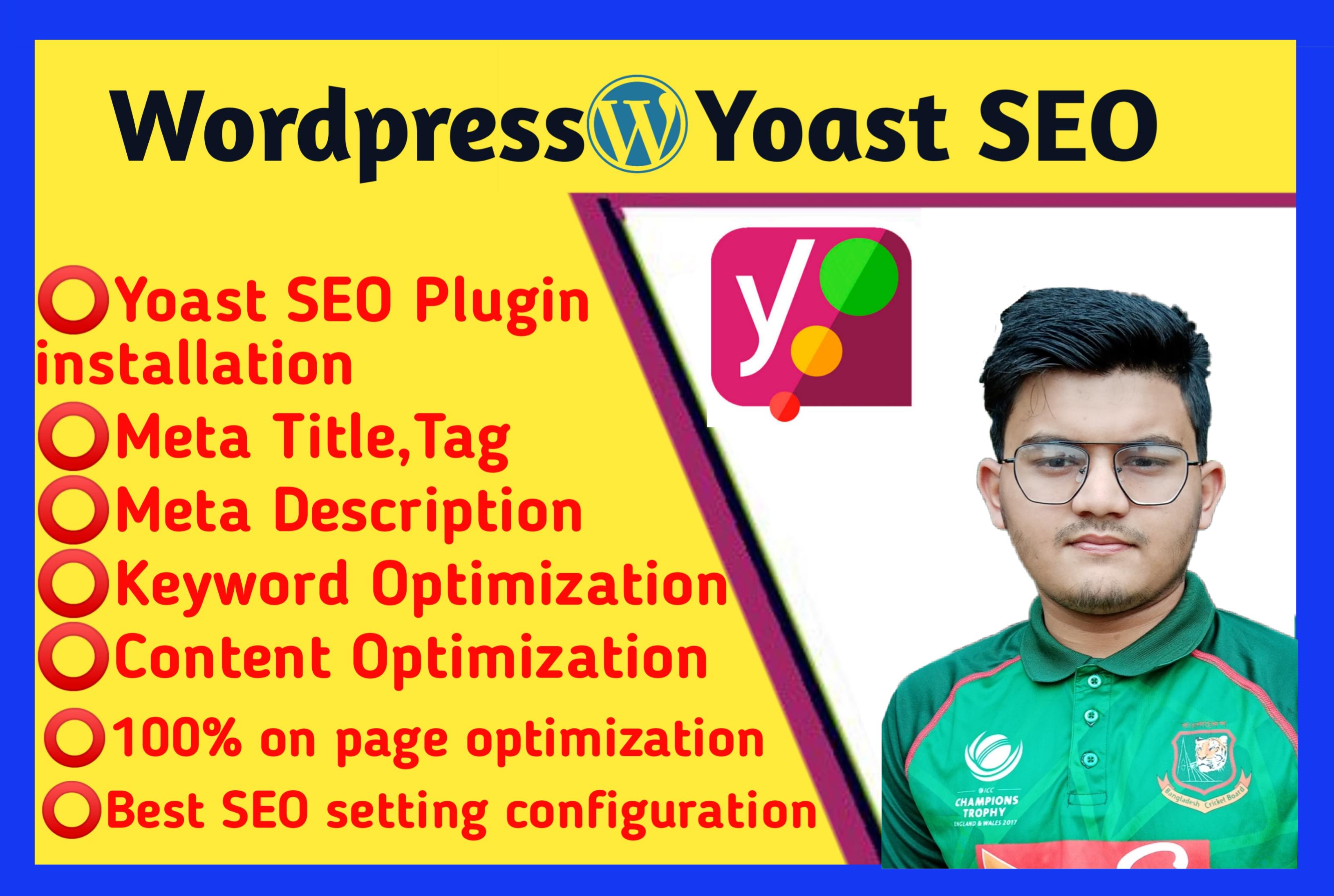 I will Install & Setup WordPress Yoast SEO plugin And Do Onpage SEO Optimization