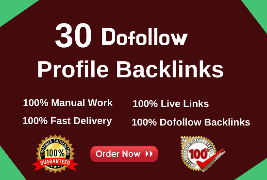 Do 30+ HQ dofollow SEO profile backlinks for link building
