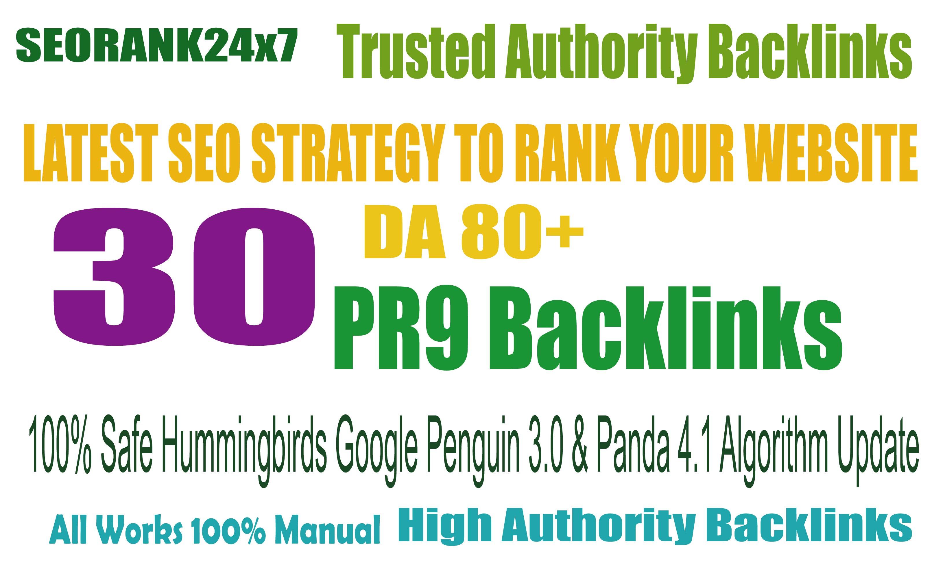 30 PR9 80+DA Manual High Quality Permanent SEO Backlinks to increase your Google ranking
