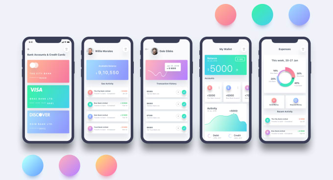 Design creative mobile app ui ux 5 Screen for android and IOS With prototype