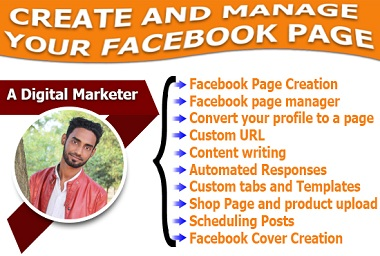 I will do create and manage your facebook page
